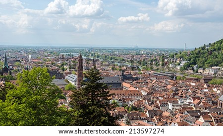 City vista from Heidelberg Castle in the State of Baden-Wurttemberg, Germany - stock photo
