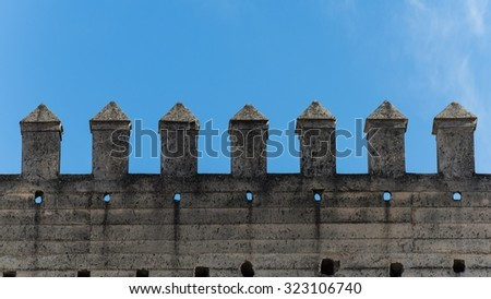 city wall of fes - stock photo
