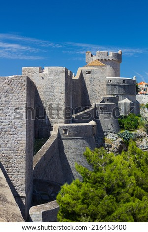 City walls and tower of fort Minceta in old town Dubrovnik, Croatia - stock photo