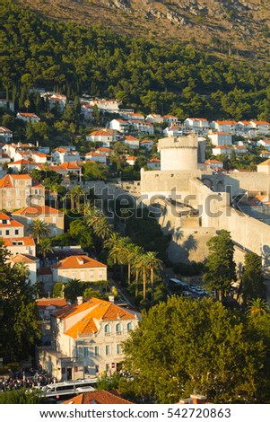 City walls and tower of Minceta fort in Dubrovnik, Croatia