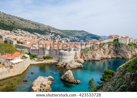 City walls of Dubrovnik Old Town, Croatia - stock photo