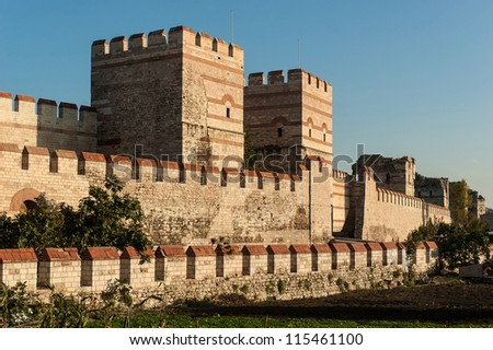 City walls of Istanbul after partial restoration - stock photo