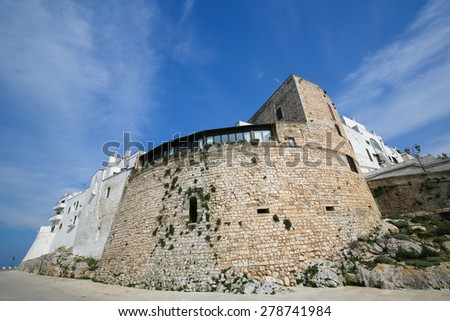 City Walls of the medieval town Ostuni in Puglia, South Italy, known as the White City or La Citta Bianca. - stock photo
