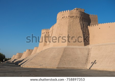 City walls surround the old town of Khiva, a UNESCO World Heritage Site, Uzbekistan