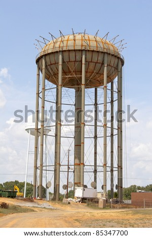 City water supply tank under construction, deep wells have to be dug to have enough water to keep the tank full