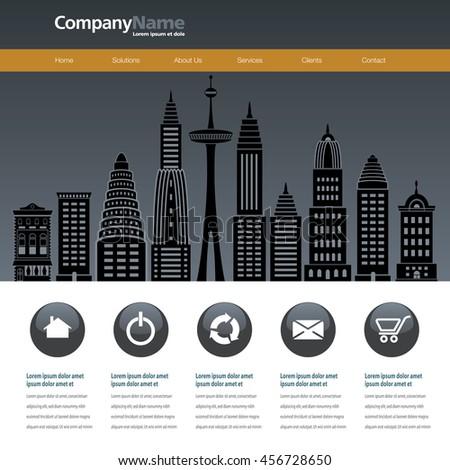 City web site design template - stock photo