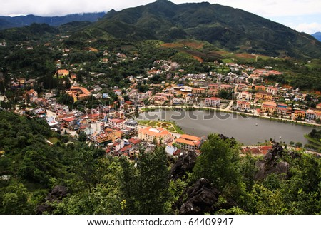 City which has lake in the center  from the hill,Sapa,Vietnam