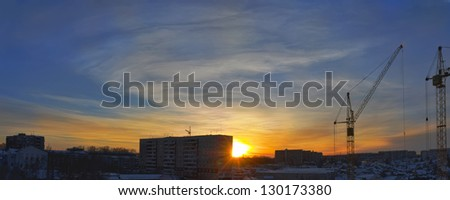 City winter sunset. Night, panorama