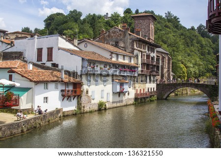 City with a bridge over the river, Saint Jean Pied de Port, France - stock photo