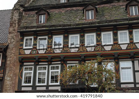City with half-timbered houses in Germany - stock photo