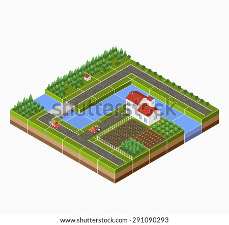 City with isometric houses and urban landscape