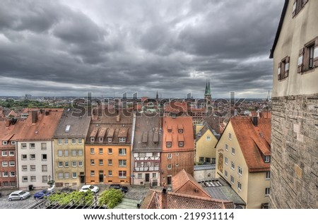 Cityescape of Nuremberg, Germany, from the castle walls - stock photo
