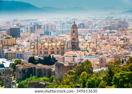 Cityscape aerial view of Malaga, Spain. The Cathedral of Malaga is a Renaissance church in the city of Malaga in Andalusia in southern Spain.