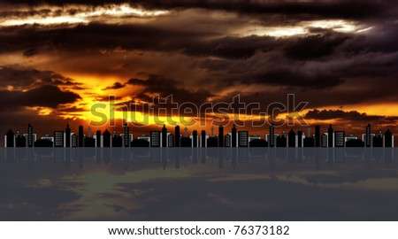 Cityscape against hdr sunset - stock photo