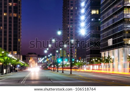 Cityscape along 17th Street in Atlanta, Georgia, USA - stock photo
