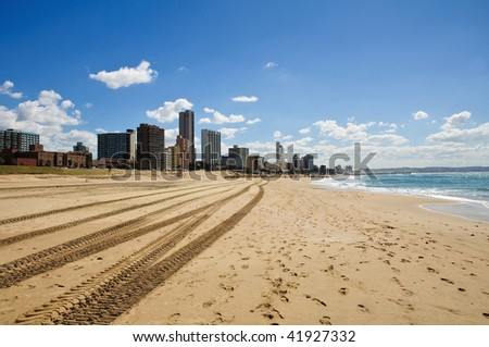 Cityscape and beach of Durban - South Africa - stock photo