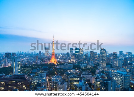 cityscape and skyline of downtown near tokyo tower at twilight