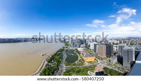 cityscape and skyline of hangzhou binjiang new city in blue sky