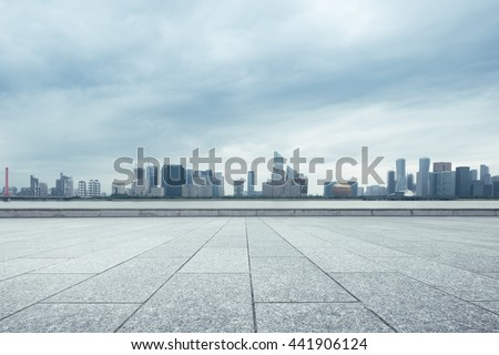 cityscape and skyline of hangzhou new city in cloud sky on view from marble floor