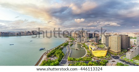 cityscape and skyline of hangzhou riverside new city in cloud sky