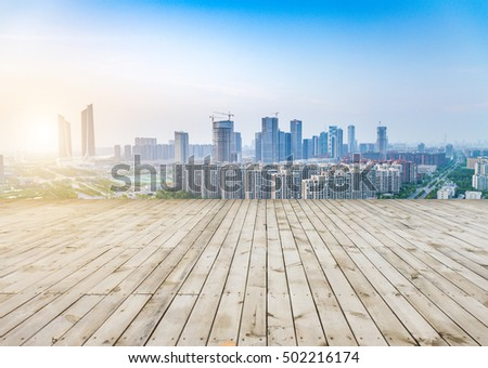 cityscape and skyline of sky on view from empty floor