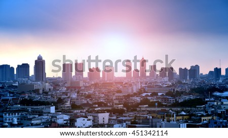 Cityscape and sunset at evening time at Bangkok Thailand.