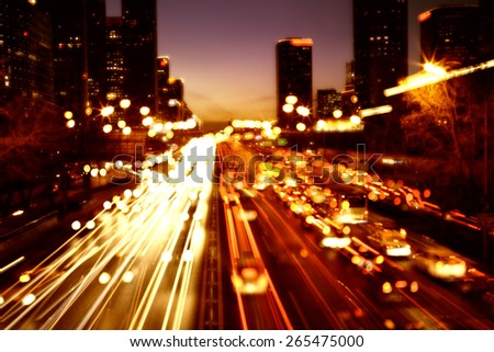 Cityscape and traffic trails of Beijing,china - stock photo