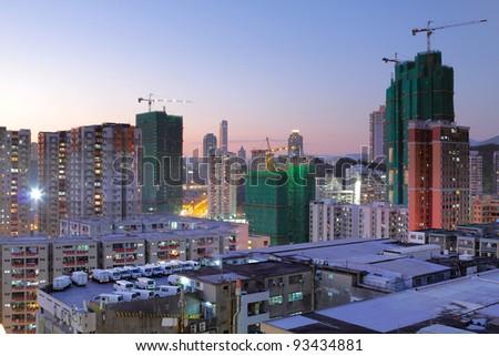 cityscape at dusk - stock photo