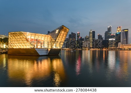 Cityscape at Marina Bay Business District - Singapore - stock photo