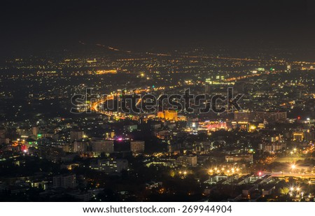 Cityscape at night in the city of Chiang Mai, Thailand