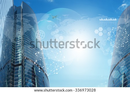 Cityscape background with jet and world map - stock photo