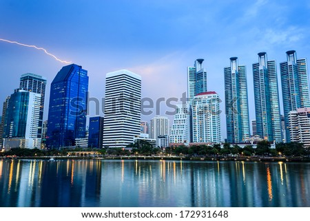 Cityscape,  Bangkok Thailand with storm and thunderbolt