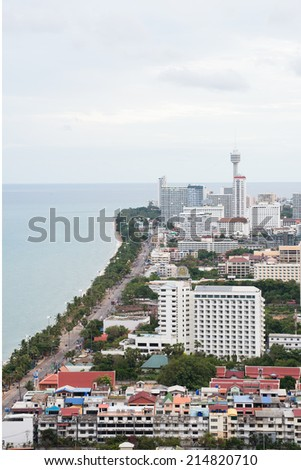 Cityscape bird's eye view of Pattaya, Chonburi, Thailand - stock photo