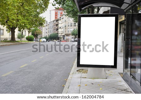 Cityscape blank billboard for the user to modify. Advertising in blank - stock photo