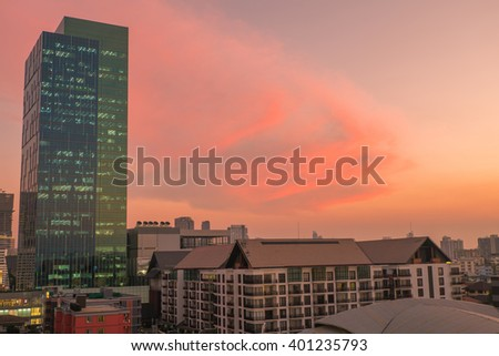 cityscape building sunset and nice cloud
