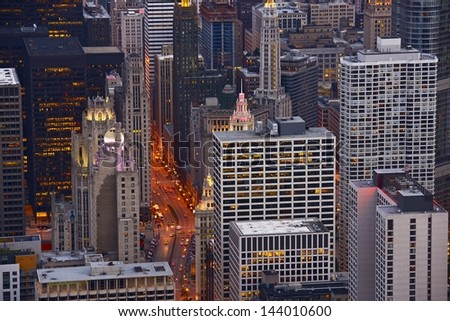 Cityscape Chicago. City of Chicago From Above. Architecture Photo Collection. - stock photo