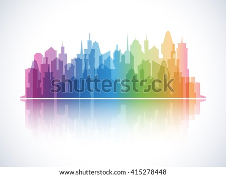 Cityscape colorful background. Skyline silhouette. Town architecture. Downtown skyscrapers. Modern urban landscape. Horizontal banner with megapolis panorama. International district.  - stock photo