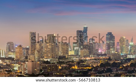 Cityscape downtown night view with twilight sky background