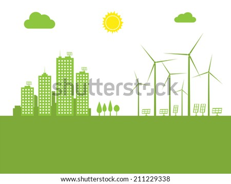 cityscape ecology concept - stock photo