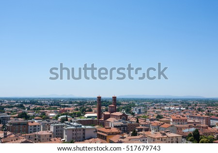 "Cityscape from ""Bassano del Grappa"", Top view. Medieval town panorama.  Italian typical landscape."