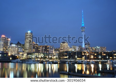 Cityscape from Viaduct - Auckland, New Zealand - stock photo