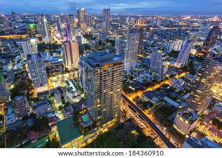 Cityscape  in center of Bangkok Thailand - stock photo