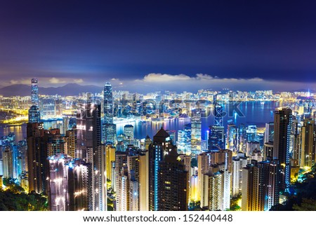 Cityscape in Hong Kong from The peak