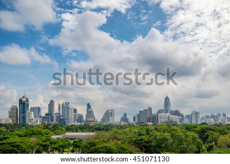 Cityscape in middle of Bangkok,Thailand and Lumpini park ,Large public park in Bangkok