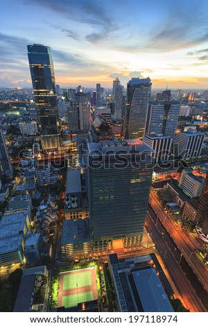 Cityscape in middle of central country - stock photo