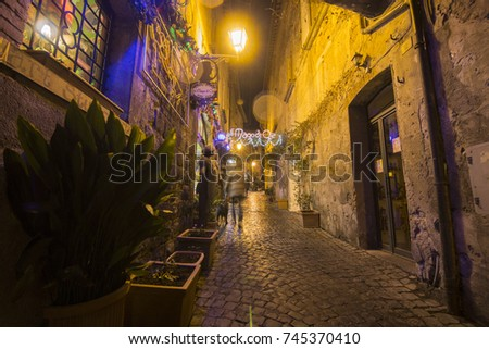 Cityscape in the medieval city of Orvieto by night on February 6, 2017 Umbria Italy