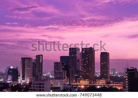 Cityscape Lights And Purple blue Sky background at twilight time