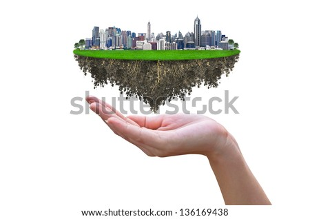 Cityscape, modern building on a white background  with woman hand and tree, concept ECO. - stock photo