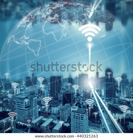 cityscape night and network connection concept with wifi icon.