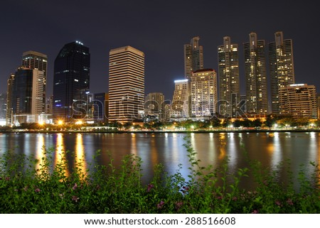 Cityscape night from Queen Sirikit National Convention Center, Bangkok, Thailand. - stock photo